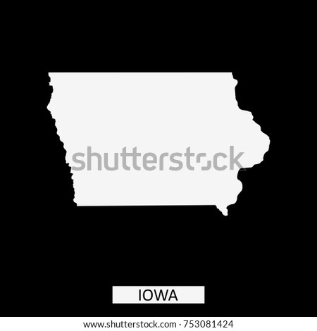 Iowa State Usa Map Vector Outline Stock Vector - Us map vector outline