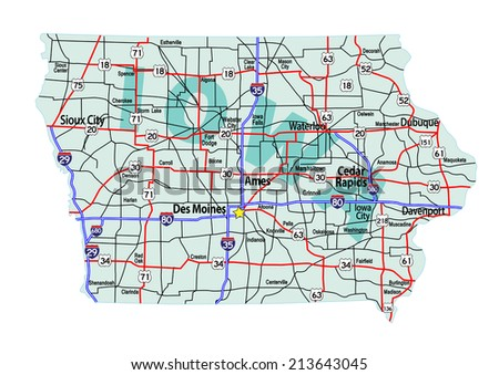 Iowa State Road Map Interstates Us Stock Vector - Iowa map us
