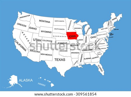 Iowa State Usa Vector Map Isolated Stock Vector - United states map iowa