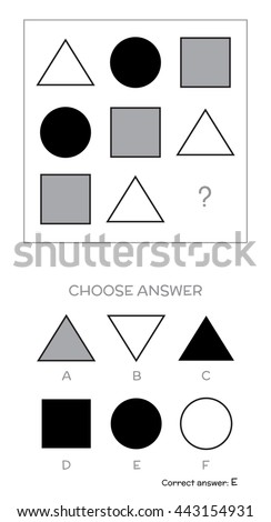 IQ test. Choose answer. Logical tasks composed of geometric shapes. Vector illustration - stock vector