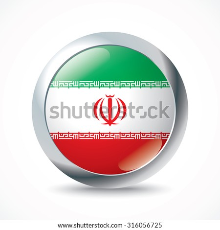 Iran flag button - vector illustration