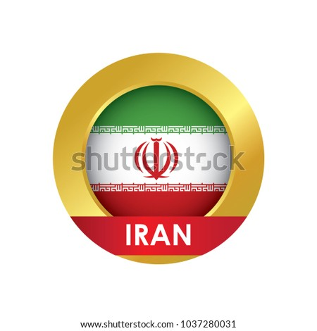Iran flag Icon button with golden circle, vector illustration