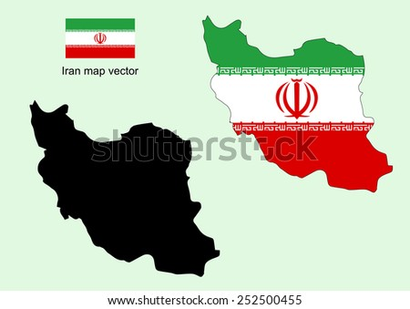Iran map vector, Iran flag vector - stock vector