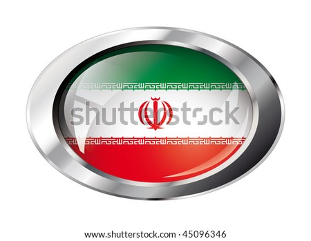 iran shiny button flag vector illustration. Isolated abstract object against white background.