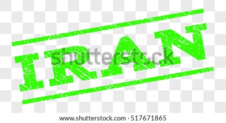 Iran watermark stamp. Text tag between parallel lines with grunge design style. Rubber seal stamp with dirty texture. Vector light green color ink imprint on a chess transparent background.