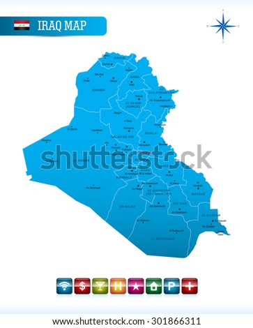 Iraq Blue Map - stock vector