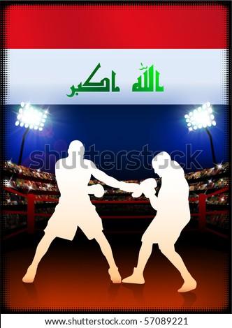 Iraq Flag with Boxer on Stadium Background Original Illustration - stock vector