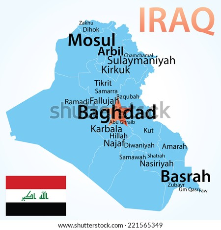 Iraq - vector map with largest cities. Carefully scaled text by city population, geographically correct.