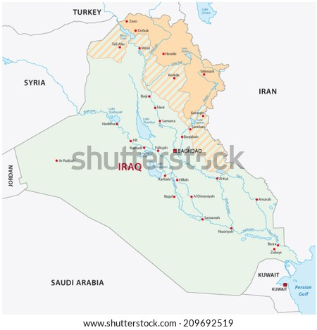 Iraqi kurdistan map - stock vector