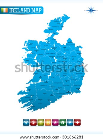 Ireland Blue Map - stock vector