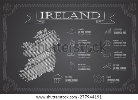 Ireland infographics, statistical data, sights.  - stock vector