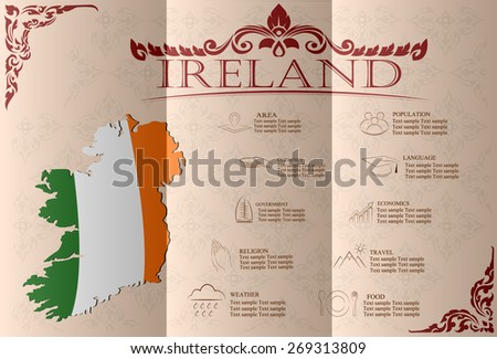 Ireland infographics, statistical data, sights. Vector illustration - stock vector