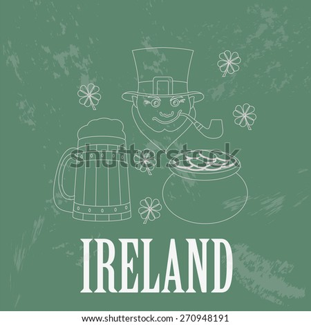 Ireland landmarks. Retro styled image. Vector illustration - stock vector