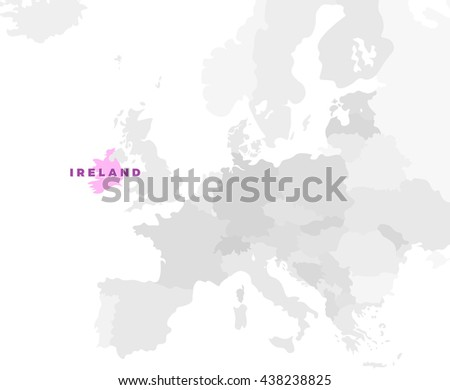 Ireland location modern detailed map. All european countries without names. Vector template of beautiful flat grayscale map design with selected country name text and border location - stock vector
