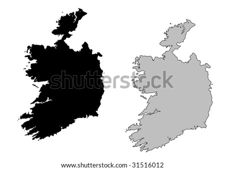 Ireland map. Black and white. Mercator projection. - stock vector