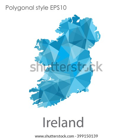 Ireland map in geometric polygonal style. Abstract triangle, modern design background - stock vector