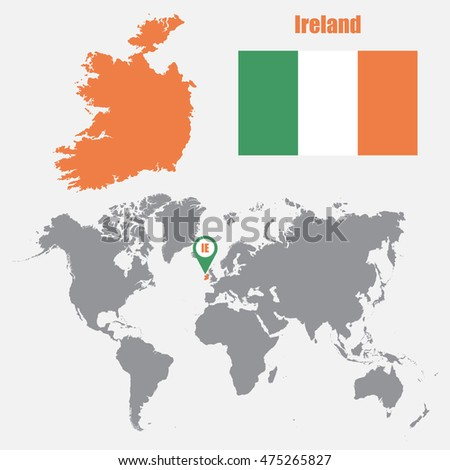 Ireland Map On A World Map With Flag And Map Pointer. Vector Illustration