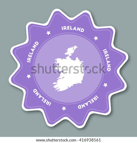 Ireland map sticker in trendy colors. Star shaped travel sticker with country name and map. Can be used as logo, badge, label, tag, sign, stamp or emblem. Travel badge vector illustration. - stock vector