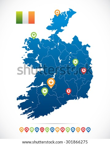 Ireland Map with Navigation Icons - stock vector