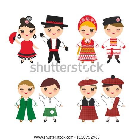 Ireland Scotsman Slavic Spanish Flamenco Dancer Stock Vector Boy Girl