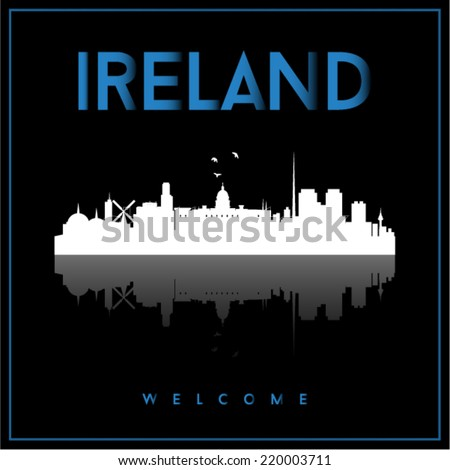 Ireland skyline silhouette vector design on parliament blue and black background. - stock vector