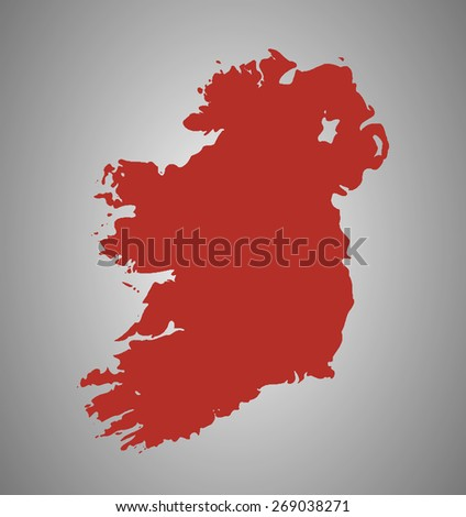 Ireland. Vector country shape outline. High detail map. - stock vector