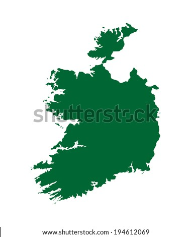 Ireland vector map  isolated on white background. High detailed silhouette illustration. - stock vector