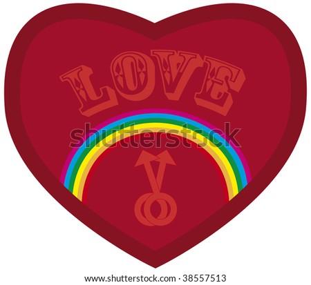 iridescent heart with notice love plus symbol man - stock vector