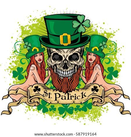 irish coat arms skull clover grunge stock vector 587919164