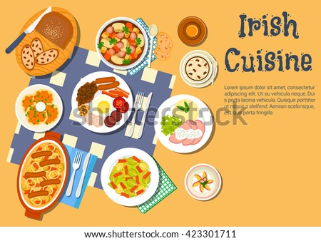 Irish cuisine with potato pancakes boxty and stew coddle, breakfast with beer, brussels sprouts bacon salad and beef with mashed potato, lamb stew and coffee with raisin bread and strawberry dessert - stock vector