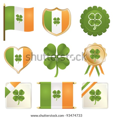 irish flag badges with four leaf clovers isolated on white - stock vector