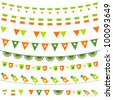 Irish flag themed vector bunting and garland set. Pattern brushes included - stock vector