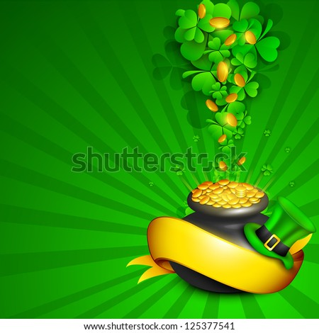 Irish four leaf lucky clovers rays background with golden coins pot, leprechaun hat and golden ribbon  for Happy St. Patrick's Day. EPS 10. - stock vector