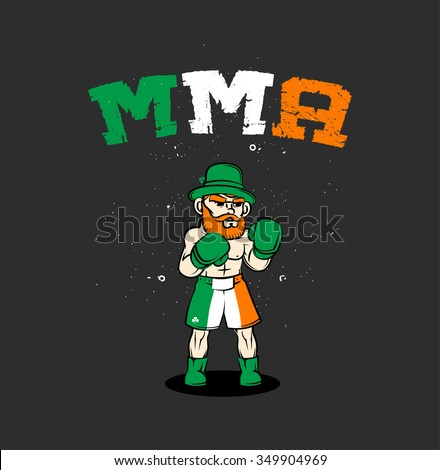 Irish mma fighter - stock vector
