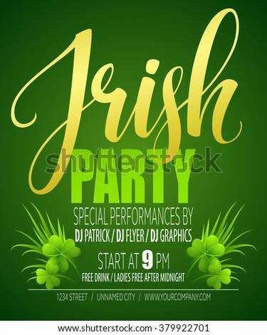 Irish Party Poster. St. Patricks Day. Vector illustration EPS10 - stock vector