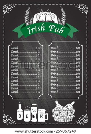 Irish pub beer festival on chalkboard menu design template for Irish menu templates
