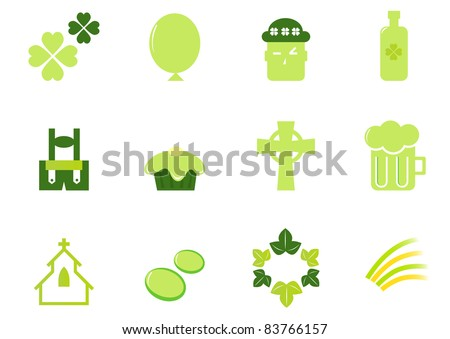 Irish & Saint Patrick's Day icons and elements isolated on white - green Design icons set for Patrick's Day - vector. - stock vector