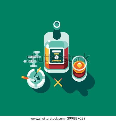 Irish whiskey, ashtray, glass. Vector flat illustration.  - stock vector