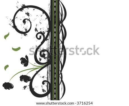 Iron and Flower Decorative Flourish - stock vector