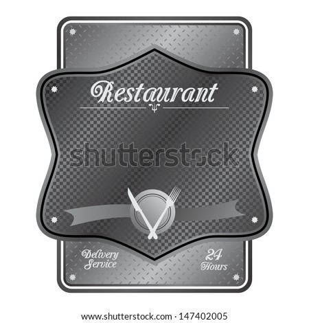 iron art restaurant metal plate sign - stock vector