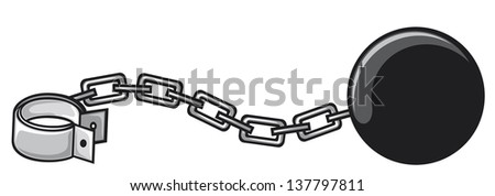 iron chain with shackle (criminal design, ball and chain) - stock vector