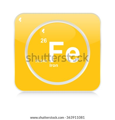 iron chemical element button - stock vector