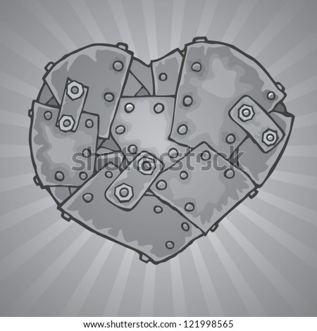 iron heart - stock vector