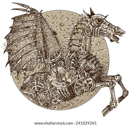 Iron horse in style steampunk. Vector - stock vector