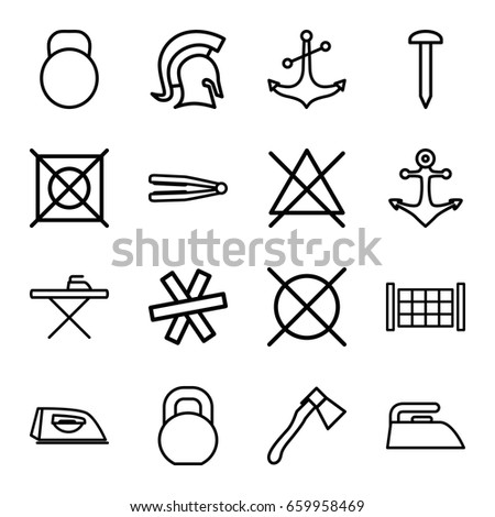 Iron table symbol stock images royalty free images vectors iron icons set set of 16 iron outline icons such as fence hair straightener urtaz Gallery