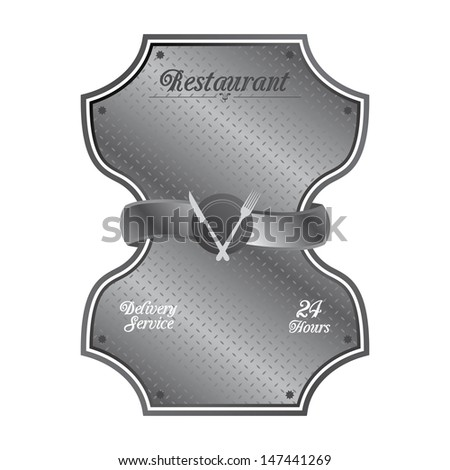 iron restaurant metal plate sign - stock vector