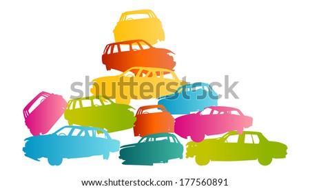 Iron scrap car junkyard vector background landscape concept - stock vector