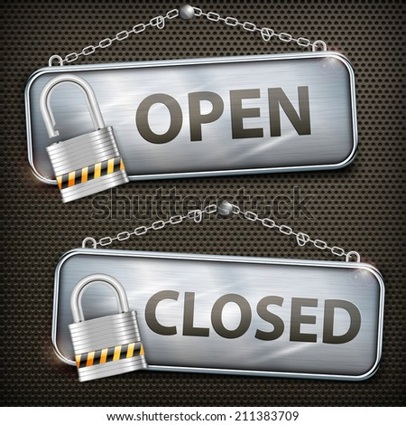 Iron sign hanging open closed with chain and lock, vector illustration - stock vector