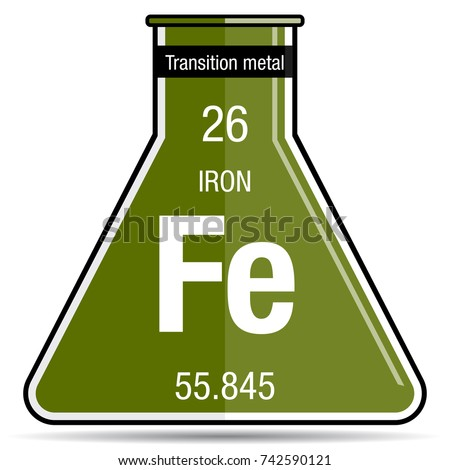 Iron symbol on chemical flask element stock vector 742590121 iron symbol on chemical flask element number 26 of the periodic table of the elements urtaz Gallery