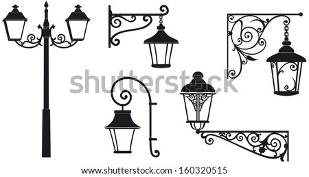Iron wrought lanterns with decorative ornaments. Vector illustration - stock vector